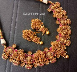 Traditional Gold Plated Choker Temple Necklace Set