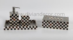 Chess patterned Mother of Pearl Bathroom Set