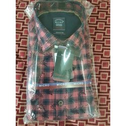 Printed, Checks Mens Printed Cotton Shirt, Size: 42 Cm