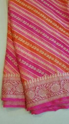 Formal Wear Pure Chiffon Silk Saree with Blouse Piece
