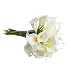 Polyester White, Green Artificial Flower Bouquet