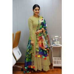 Stitched Rayon Designer Light Olive Green Anarkali Suit, Machine And Hand Wash