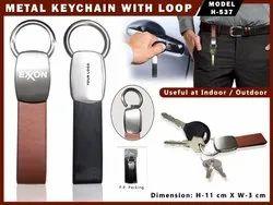 Brown Metal Keychain with Loop H-537