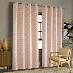 52 x 60 inch Textured Trellis Peach Printed Blackout Curtains