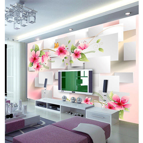 DDS Multicolor Floral 3D Wallpaper, Chola Interior