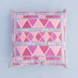 Cotton Chambray Hippie Gypsy Embroidery Pillow Cover Multi Colour Bohemian Bed Pillow Cover