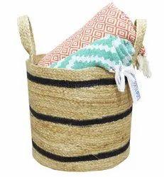 Decorative Laundry Bin Braided Jute Storage Basket