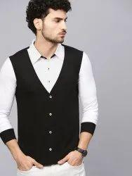 Cotton Plain Men's Jacket Attached Shirt, Size: S to XXL