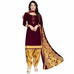 Rajnandini Wine Crepe Printed Unstitched Dress Material