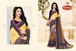 Printed Embroidered Vichitra Saree - Champion