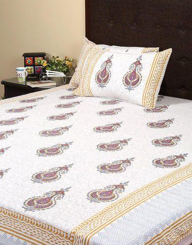 Rajrang White U0026 Brown Hotel Bed Sheet