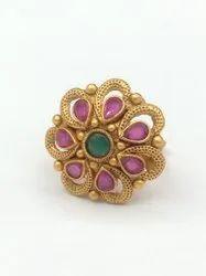 Matte Finish Temple Jewellery Ring - F107