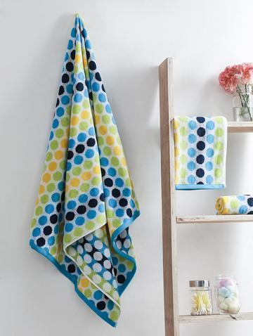 Turkish Bath Polka Dot And Hand Towel Set