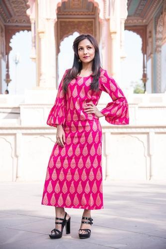Details about  /A-Line Colored Formal Indian Women Ethnic Tunic Dress Rayon Puffed Sleeve Kurti
