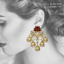 Antique Meenakari Lotus Earrings