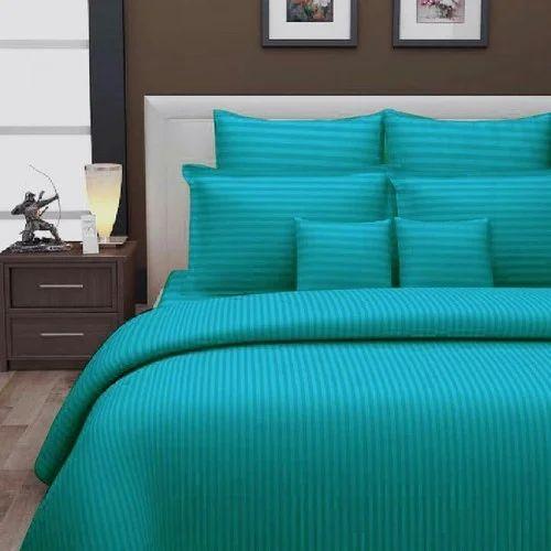 Plain Blue Sea Green Satin Stripe Bed Sheet