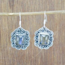 925 Sterling Silver Jewelry Natural Labradorite Gemstone Earring