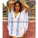 Half Sleeves Ethnic Embroidery Work Cotton Kaftans