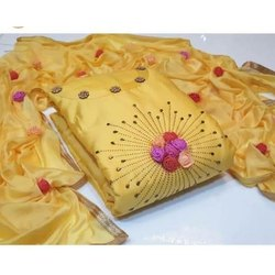 Rajnandini Yellow Glass Cotton Embellished Unstitched Dress Material