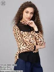 Beige Leopard Wrap Back Shirt