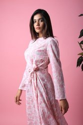 Cotton Long Dress With Light Pink Floral Hippie Urban Print