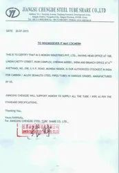 Authorized Stockiest certificate from JIANGSU CHENGDE STEEL TUBE SHARE CO LTD
