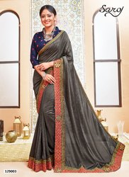Stylish Party Wear Embroidery Border Saree