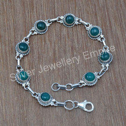 Green Onyx Gemstone 925 Sterling Silver Bracelet