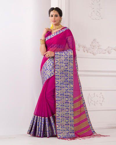 0522bb8ff1 Cotton And Silk Pink Banarasi Saree, Length: 6 M, Rs 699 /piece | ID ...