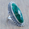 925 Sterling Silver Unique Emerald Gemstone Ring Jewelry