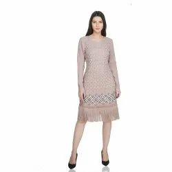 Polyester Georgette Biege Party Wear Beige Full Sleeve Embellished Dress With Tassels, Age Group: 30-50