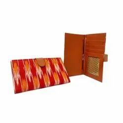 Cotton,Artificial Leather Ladies Press Button Card Wallet
