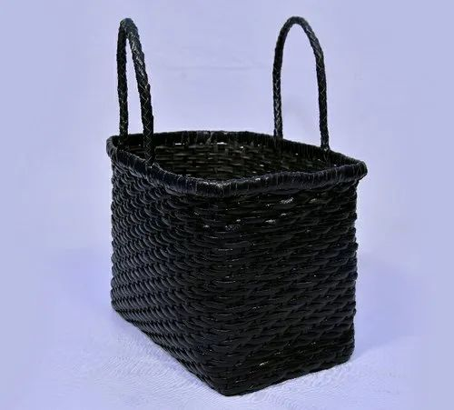 Aaliyah Black Handicrafts Leather woven Handbag, for Shopping, Gender: Women