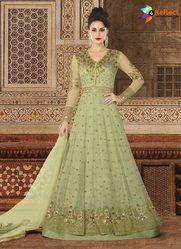 Breathtaking Reef Green Premium Net Designer Floor Length Anarkali Suit