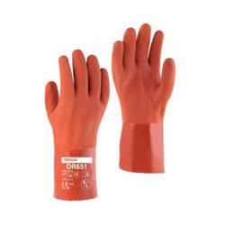 Striped Unisex Premium Quality TOWA - OR 651 PVC Gloves, Industrial And Oil/Chemical Handling