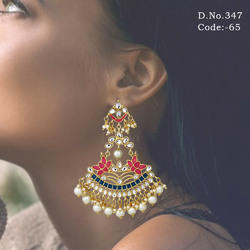 Designer Meenakari Chandelier Earrings