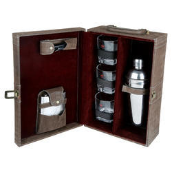 Dark Brown Check - 03 Portable Cocktail Set