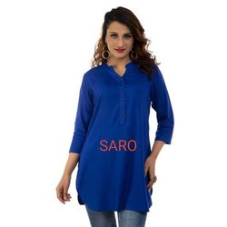 Casual Wear Half Sleeve Plain Short Cotton Kurti, Size: Small to XL, Wash Care: Handwash