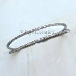 Party Wear Pave Diamond Sterling Silver Single Line Bangle