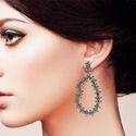 Diamond Baguettes Silver Earrings