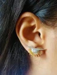 Sun Shape Golden Diamond Surya Studed Earring