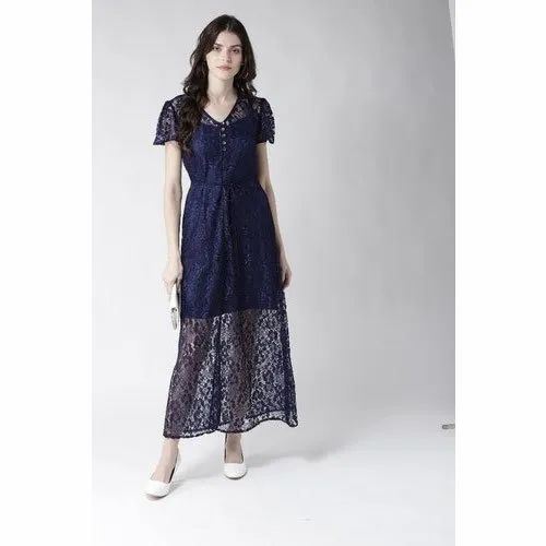 Casual Women Blue Net Maxi Dress
