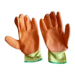 Full Finger Orange Cut Resistant Cotton Hand Gloves