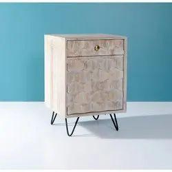 Wooden Iron Leg Accent Cabinet