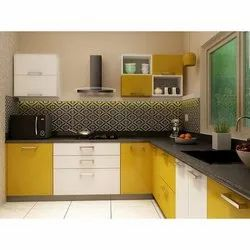 L Shape Prointero High Glossy Modular Kitchen