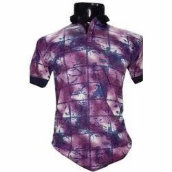 Printed Half Sleeve Mens Collar Neck Cotton T Shirt, Size: S-XXL