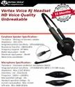 Wired Black Vertex Voice Rj High Definition Call Center Headset With Controller