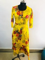 Ladies Yellow Floral Kurti