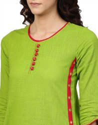 Yash Gallery Women's Cotton Slub Mirror Work Straight Kurta