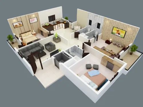 3d Elevation Of Row House Interior Floor Plan Service Provider From Nagpur